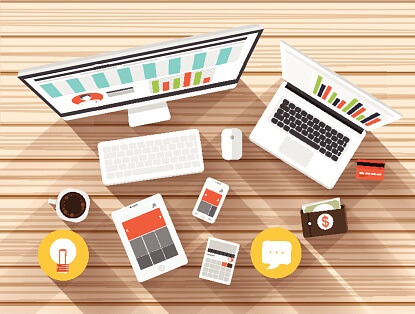 Desktop top view working for Digital Marketing